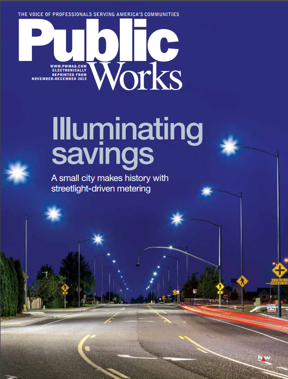 Cover of the November-December 2015 issue of Public Works magazine, showing a suburban street at night illuminated with LED streetlights