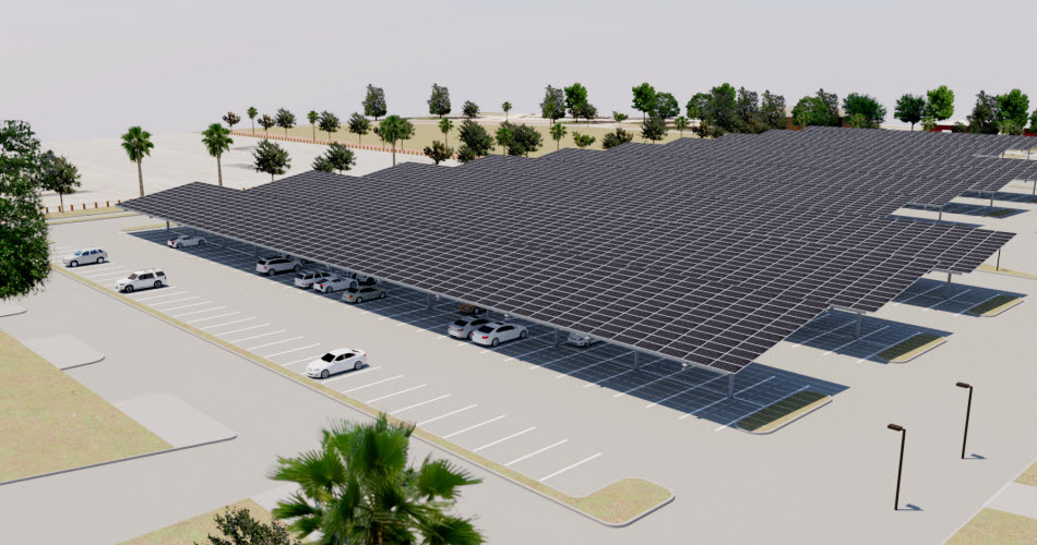 3-D computer rendering of a solar carport with panels covering parking spaces at United States Marine Corps Recruit Depot Parris Island