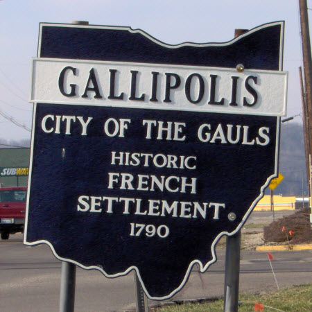 Daytime view of a welcome sign in the City of Gallipolis, Ohio