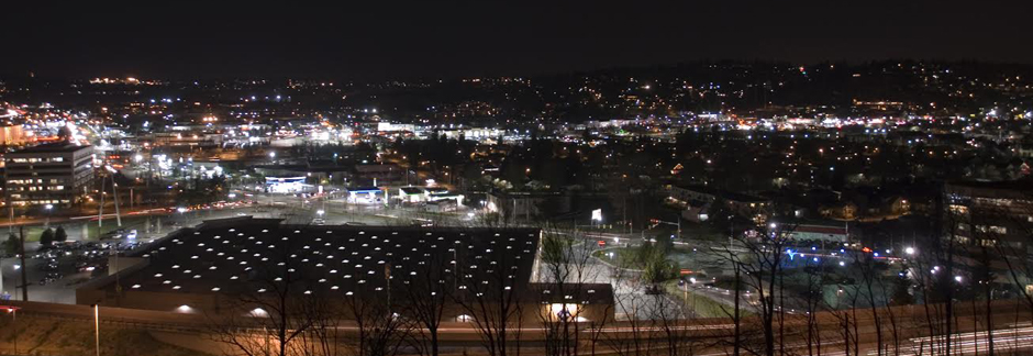 Aerial view of Reno, Nevada at night showing new LED lighting in public spaces