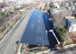 Aerial view of a solar car park at Roxbury Community College