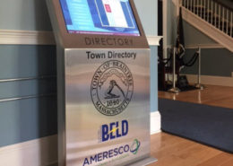 View of an interactive solar energy kiosk in the lobby of Braintree Town Hall