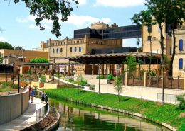 Daytime view of a portion of the riverwalk in San Antonio, Texas