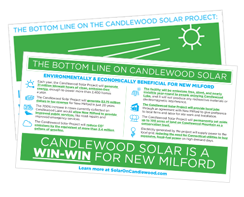 Screen shot of a Candlewood solar project direct mail brochure
