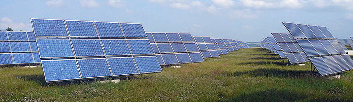 Daytime viiew of solar panels in field