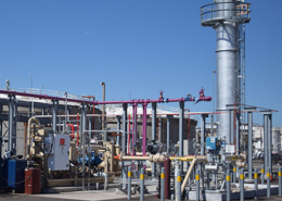 Daytime view of a renewable natural gas facility at the City of Phoenix 91st Street Wastewater Treatment Plant