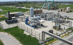 Daytime aerial view of an RNG plant at the San Antonio Water System's biogas treatment facility.