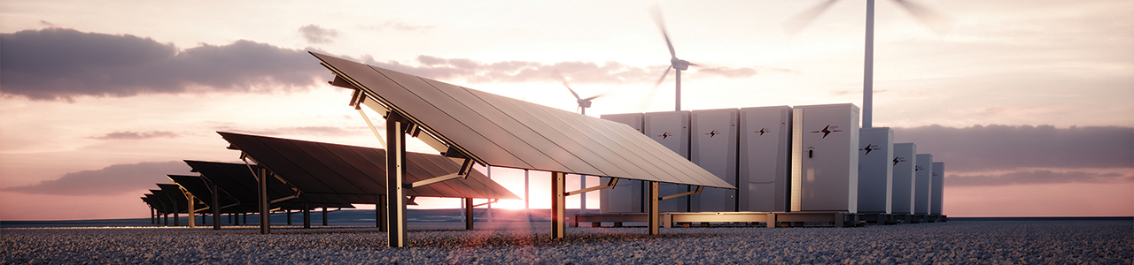 Concept image for renewable energy shows solar panels alongside wind turbines and a battery storage system