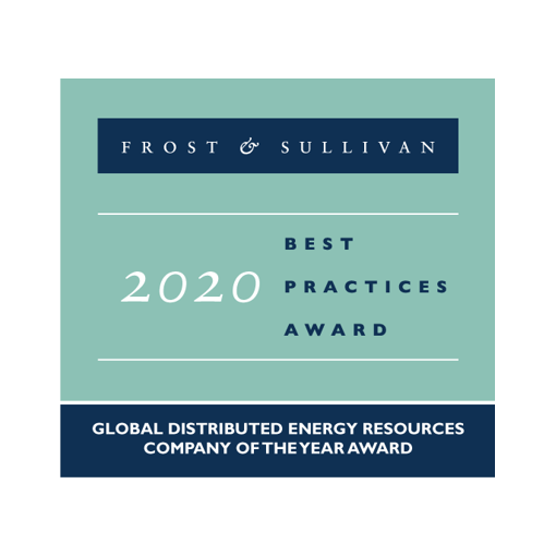 Frost & Sullivan 2020 Best Practices Award Global Distributed Energy Company of the Year Award badge