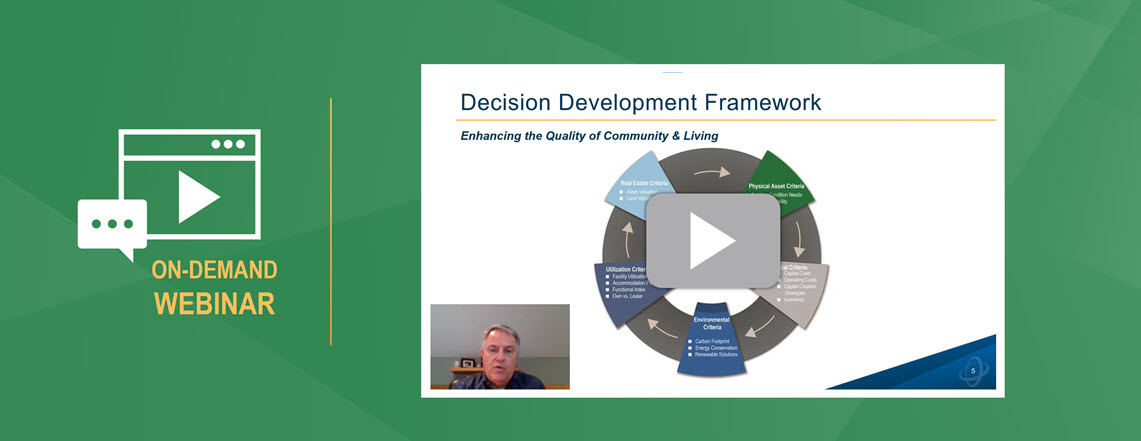 "Preview image for Ameresco's Leveraging Captial Creation Strategies webinar shows a person talking on a video conference next to a large chart under the heading ""Decision Development Framework"" next to a play buton and the words, ""On Demand Webinar"""