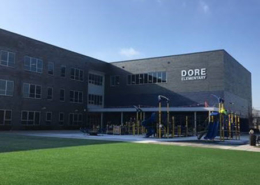Daytime view of the entrance of Dore Elementary School in Chicago Illinois