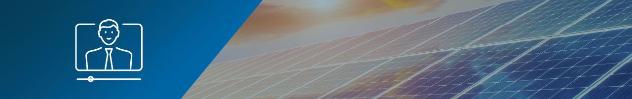 Icon of a person in an online video with a progress bar underneath superimposed on an abstract view of solar panels with the sun setting behind them