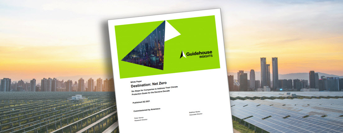 The cover of Ameresco Destination Net Zero white paper superimposed on an image of a solar farm outside a city